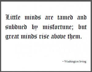 Washington Irving Quote on Little Minds