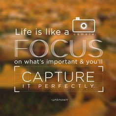 ... focus on what's important and you'll capture it perfectly.
