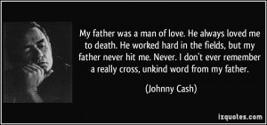 My father was a man of love. He always loved me to death. He worked ...
