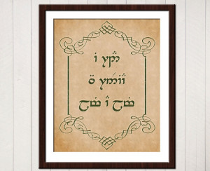 ... of the Rings Quote Poster in Sindarin Elvish 8x10. $16.00, via Etsy