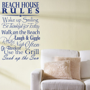 Home » Quotes » Beach House Rules - Quote - Saying - Wall Decals