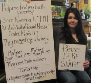 Help Whitney find her birth parents!