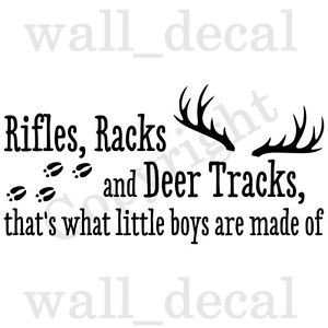 ... -Deer-Tracks-Little-Boys-Wall-Decal-Vinyl-Sticker-Quote-Hunting-Gun