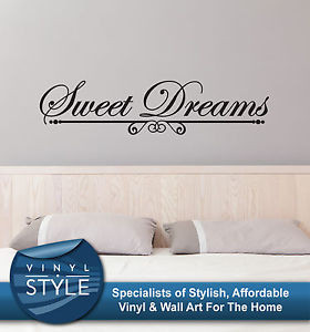 Details about SWEET DREAMS ROMANCE BEDROOM DECOR QUOTE STICKER WALL ...