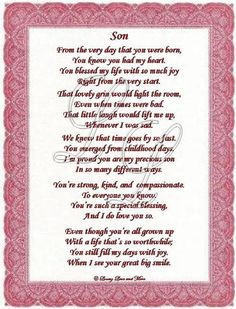 Happy Birthday poems for great sons   Son poem is about a special son ...