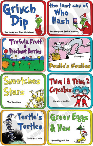 Dr Seuss Food Label Set {great for Dr. Seuss Day}
