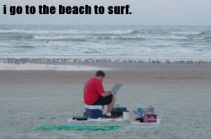 Funny caption of a guy on the beach