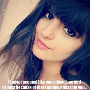 girl, missing you, sad, love, quote, quotes, pretty, face, make up ...