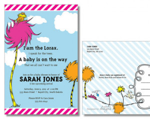 The Lorax Dr Seuss Baby Shower Invi tation Gender Neutral Baby Shower ...