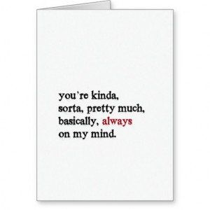 Valentine Card. You're always on my mind. Folded.