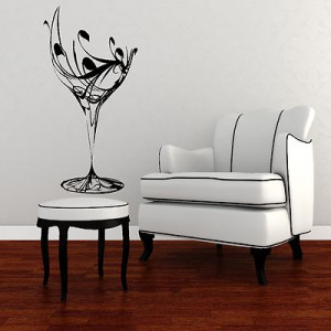 Elegant Wine Glass Wall Sticker / Art Design / Kitchen Decal Transfer ...