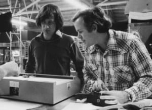 Steven Spielberg and Douglas Trumbull examine some graphing equipment ...