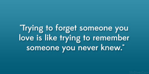 Trying to forget someone you love is like trying to remember someone ...