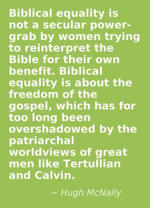 ... egalitarian advocate By Hugh McNally found on Rachel Held Evans blog
