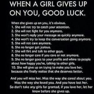 Good Girl Gives up On You good