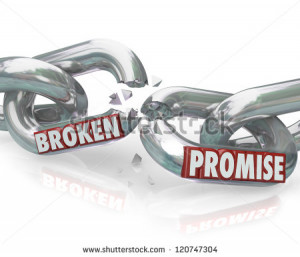 The words Broken Promise on chain links breaking apart to symbolize ...