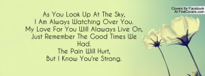 ... Remember The Good Times We Had.The Pain Will Hurt,But I Know You're