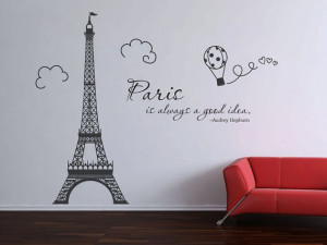 Paris Eiffel Tower Audrey Hepburn quote wall decal vinyl decal