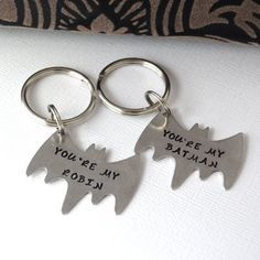 ... Best Friend Keychain Set- Couple Keychain Set- Batman and Robin