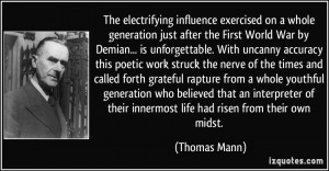 influence exercised on a whole generation just after the First World ...