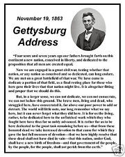 Abraham Lincoln Gettysburg Address Famous Speech Quote 8 x 10 Photo ...