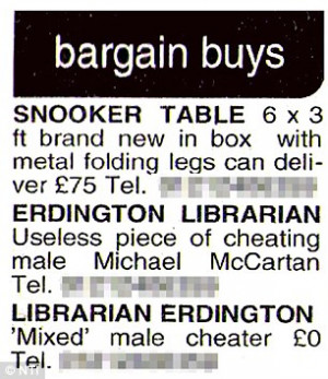 One cheating male: The advert which appeared in the Birmingham Mail