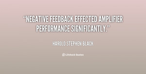 """Negative feedback effected amplifier performance significantly."""""""
