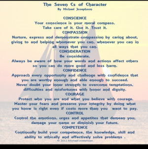 QUOTE & POSTER: THE 7 Cs OF CHARACTER: People of exceptional character ...