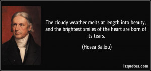 The cloudy weather melts at length into beauty, and the brightest ...