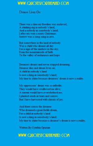 Inspirational Dreams Poems-Dream Poem by Cynthia Opurum