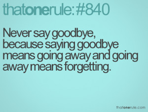 ... saying goodbye means going away and going away means forgetting