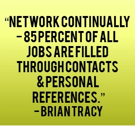 Networking continually. 85% of all jobs are filled through contacts ...