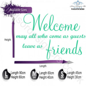 Welcome Friends wall art sticker quote kitchen decor