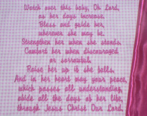 Embroidered Baby Blanket ~ Blessings Prayer for girls~ Customized Baby ...