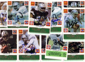1986 Dallas Cowboys autographed McDonald's team card set (Tony Dorsett