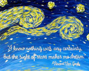 Van Gogh Quote Starry Night Print - Famous Quotes Art Acrylic Painting ...