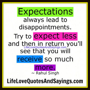 Expectations always lead to disappointments. Let's try to Expect ...