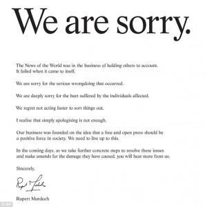 Full-scale apology: The text of Rupert Murdoch's advertisement which ...