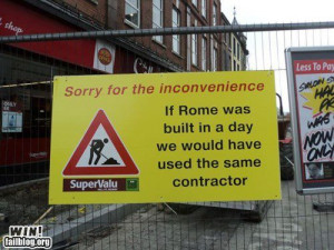 Funny roadworks sign