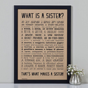 Poems About Sisters 'what is a sister?' poem print