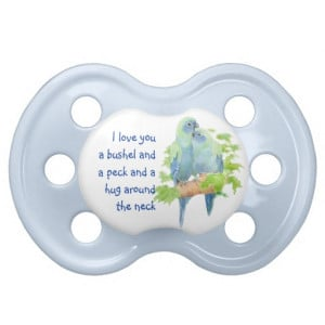 Cute Love Quote with Cuddling Birds Baby Pacifiers