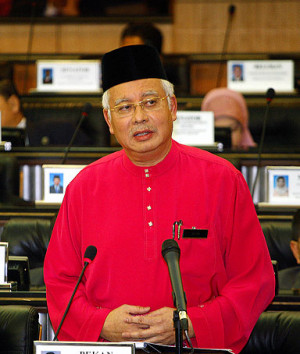 Malaysian Prime Minister and Finance Minister Najib Razak speaks as he ...