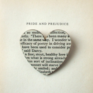 Pride and Prejudice - Heart brooch (LARGE). Original book page ...