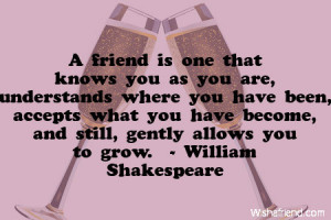 friend is one that knows you as you are, understands where you have ...