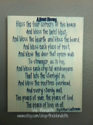 house blessing. Poem. 11 x 14 inch canvas. Quote canvas. Navy. White ...