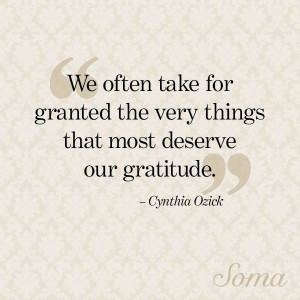 We often take for granted the very things that most deserve our ...