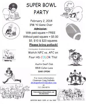 Super Bowl Party 2/2/14 – Austin   Deaf Network of Texas