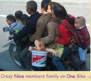 "Crazy nine members family on one Bike :-) "" ~ Funny Images http ..."
