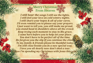 Missing Someone In Heaven Poems Merry christmas from heaven