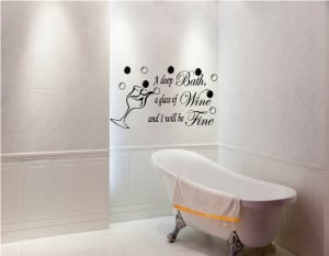 ... Be Fine Bathroom Ensuite Vinyl Art Wall Stickers Quotes Decal WA0274